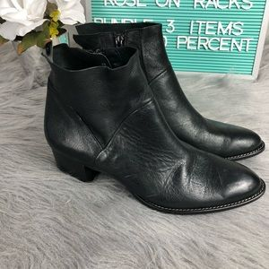 Paul Green Leather Side Zip Black Bootie